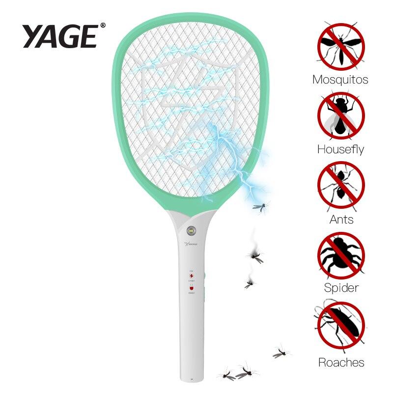 YAGE eléctrico volar trampa mosquitos asesinos de Control de plagas de insectos rechazar raqueta trampa 2200 V choque eléctrico usb Moustique 1200 mAh