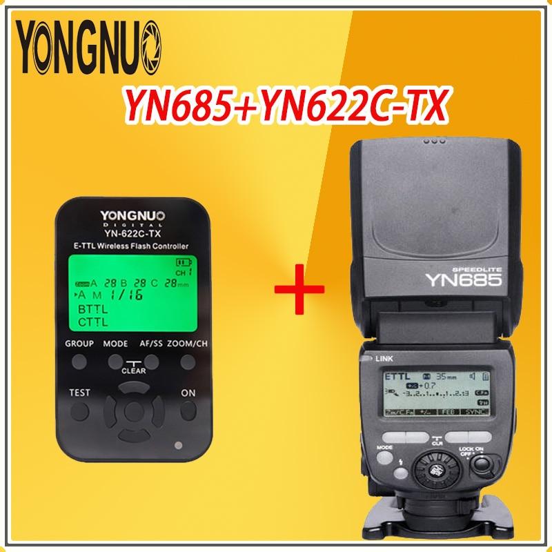 YONGNUO YN685 Radio Manual Flash TTL HSS 1/8000s  2.4GHz Wireless Speedlite + YN-622C-TX Controller Kit For Canon Cameras
