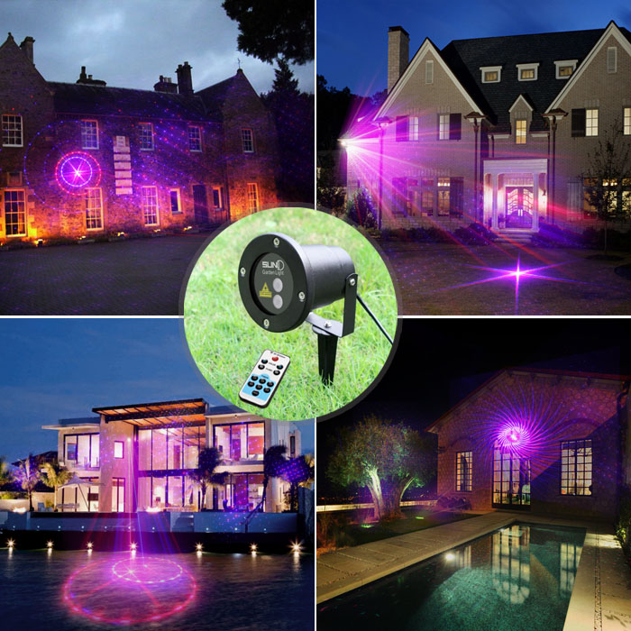 Outdoor Waterproof Latest RB Laser Light Christmas Lights Projector Garden Grass Landscape Decorative Light With 12 Patterns