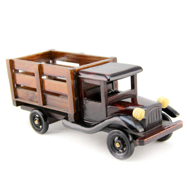 Home Decor Wooden Car Truck Ornaments Figurines Handmade Retro Big Truck  Furniture Desk Home Office Decoration