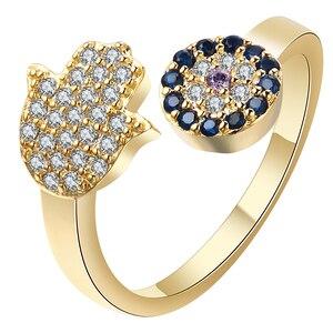Женские кольца Hainon, регулируемые кольца с синими глазами серебряного/золотого цвета, рука гамса, Фатима, ручное кольцо для свадьбы, помолвки...