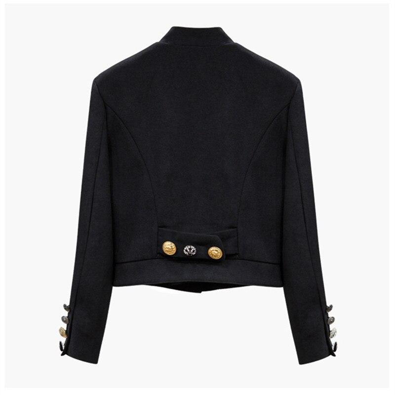 Pour Femmes Blazer Vintage Manteau Noir Main Luxe Court Costumes Différents De Perles Diamant Boutons mNwv08n