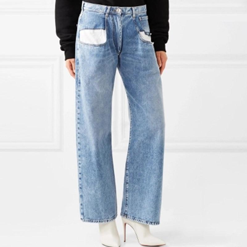 Jeans Women High Waist 2019 Spring Auutmn Vintage Straight Women Wide Leg Straight Jeans