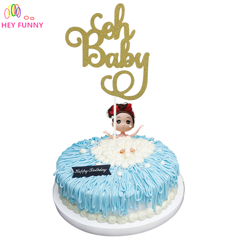 Pleasant 1Pcs Gold Glitter Oh Baby Cake Topper Birthday Its A Girl Boy Funny Birthday Cards Online Alyptdamsfinfo