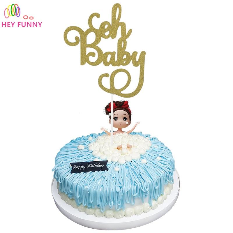 Brilliant 1Pcs Gold Glitter Oh Baby Cake Topper Birthday Its A Girl Boy Birthday Cards Printable Giouspongecafe Filternl