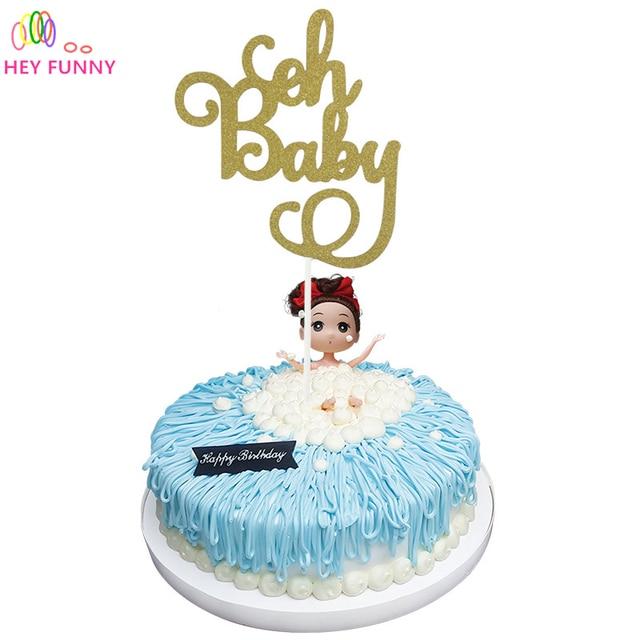 1pcs Gold Glitter Oh Baby Cake Topper Birthday Its a GirlBoy Cake