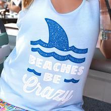 """Beaches Be Crazy"" Women's Funny Beach Tank Top"