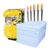 Car Detailing Kit 6pcs Car Cleaning Cloth 5pcs Detailing Brushes For Interior Dashboard Rims 2pcs Waterproof
