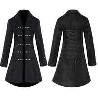 Vintage Steampunk Gothic Style Cotton Jacket Tuxedo Coat For Women Brocade Jacquard Slim Dovetail Coat Top Lady Black Halloween
