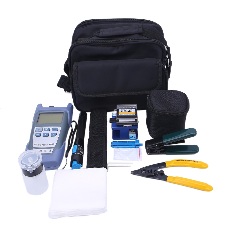цена Fiber Optic Tool Bag Kit Optical Power Meter Visual Fault Locator Cable Stripper LS'D Tool