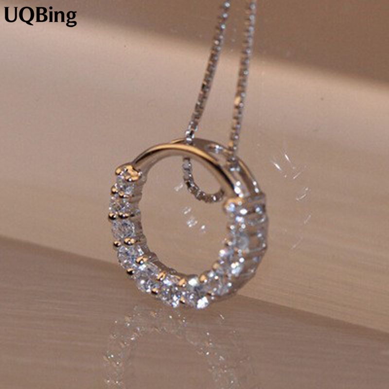 Drop Shipping 925 Sterling Silver Necklaces Silver Round Crystal Necklace Pendants&Necklaces Jewelry Collar Colar