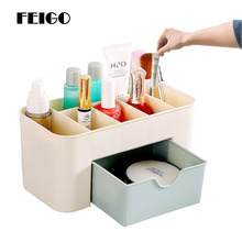FEIGO Cosmetic Storage Box With Drawers Desktop Necklace Earring Plastic Jewellery Box For Home Desktop Organizer Cosmetics F179 sosw multifunctional 9 components metal table statinery storage box desktop organizer with drawers sky blue