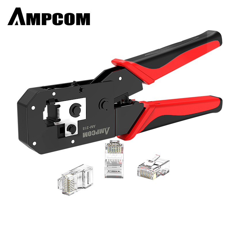 AMPCOM RJ45 Crimping Tool Ethernet Network LAN Cable Crimper Cutter Stripper Plier Modular 8P RJ45 And 6P RJ12 RJ11