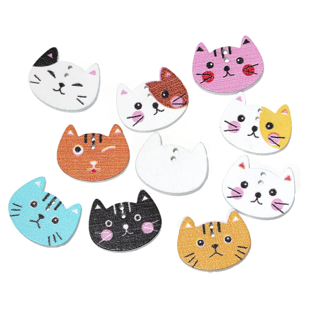 """עץ תפירת כפתור רעיונות חתול באופן אקראי שני חורים 20 מ""""מ (6/8 """") x 16 מ""""מ (5/8 """"), 10 יחידות 2018 חדש Dropshipping"""
