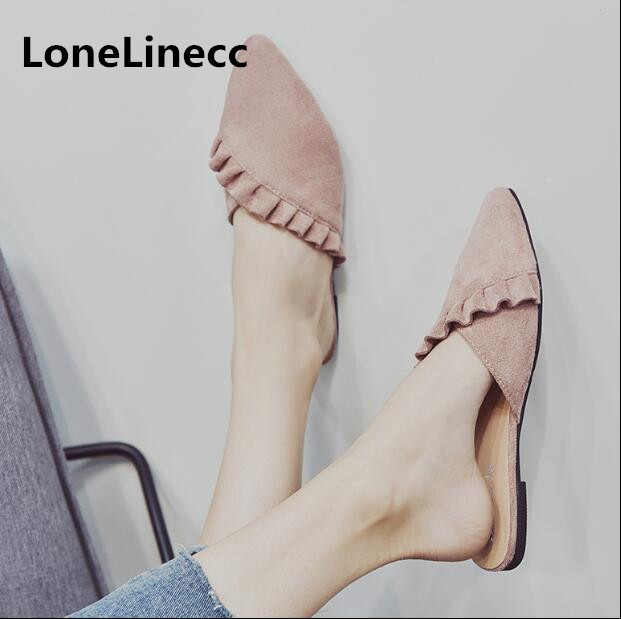 Women flat Slipper summer shose women 2018 lace half slippers Pointed toe sexy flip flops student flat Mueller shoes woman Y244 ...