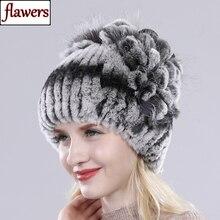 Female Real Genuine Rex Rabbit Fur Cap Russian Winter Knitted Real Rex Rabbit Fur Hat Women Real Rab