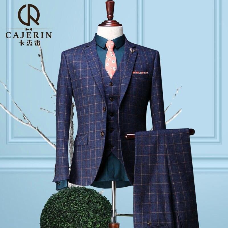 Popular Royal Blue Plaid Suit Men-Buy Cheap Royal Blue Plaid Suit