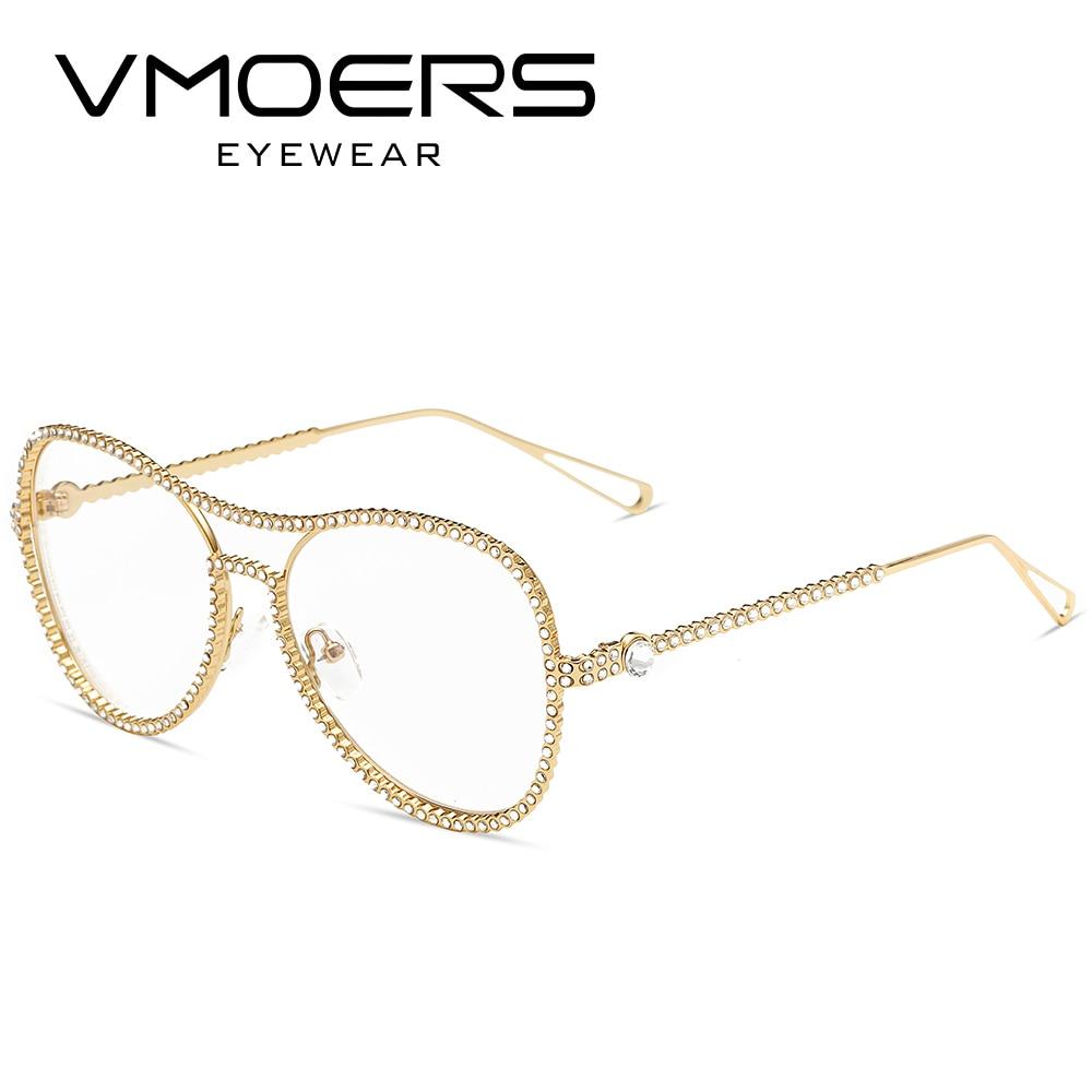 VMOERS Aviator Diamond Eyewear Frames Pink Transparent Clear Optical ...