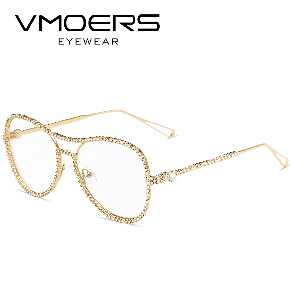 Vmoers aviador diamante Monturas de gafas rosa claro transparente ...