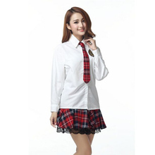 Hot Uniform Sexy School Uniform Long-Sleeved Shirt Student Cosplay Costume Grace Clothing for Female Set Attractive CA166