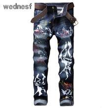 #1947 2017 Дешевые джинсы мужские Тощий Мужские байкерские джинсы Pantalon homme Jogger джинсы homme Поддельные дизайнер одежды Мужские печатных джинсы