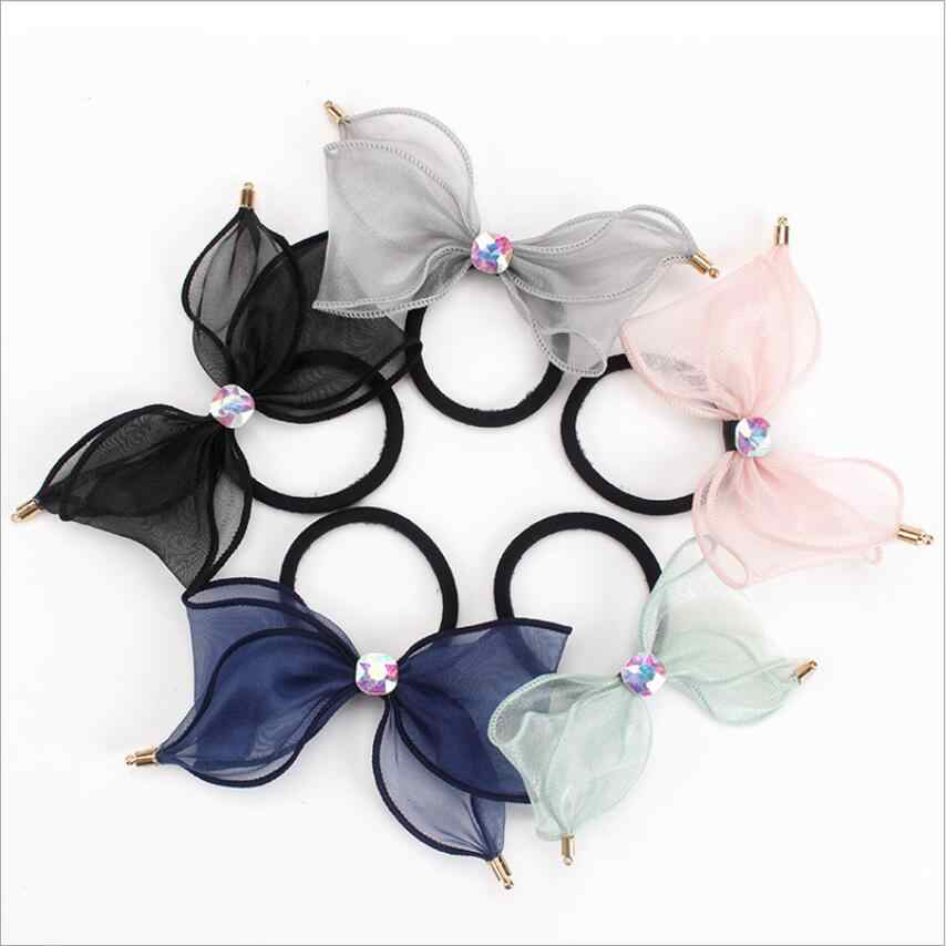 Women Ribbon Bow Crystal Diamond Rubber Band Hair Accessories Korean Head Rope Headdress Scrunchie Headwear Fashion Princess