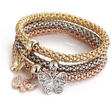 RE Women alloy 3 colors bracelets set elastic popcorn chain crystal butterfly bracelet pendant jewelry 3pcs/lot H40