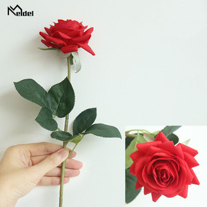 Meldel Artificial Flowers 1 Branch Rose Real Touch Silk Roses Peonies Red Pink Fake Flowers Wedding Home Decoration Rose Flowers(China)