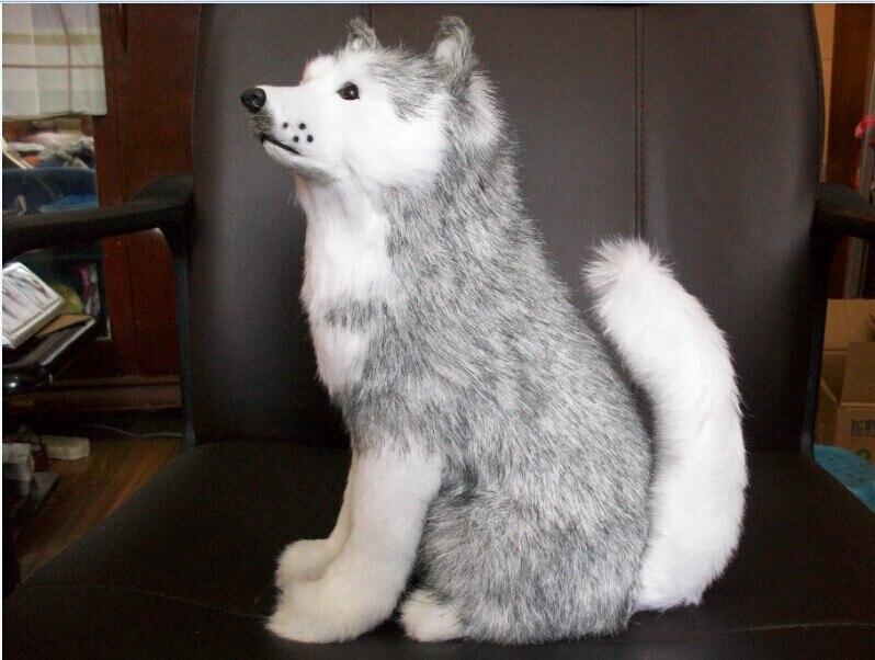 υπέροχη παιχνιδιάρικη εκσφενδόνιση προσομοίωσης υψηλής ποιότητας συνεδρίαση husky σκυλί κούκλα δώρο γενεθλίων περίπου 30cm