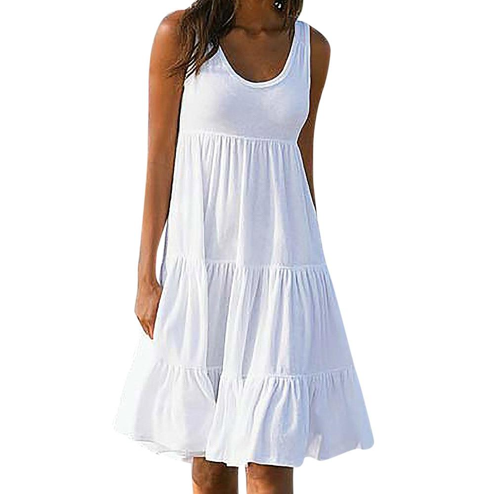 Summer Women Bohemian Style Clothing Beach Dress Female White Cotton ...