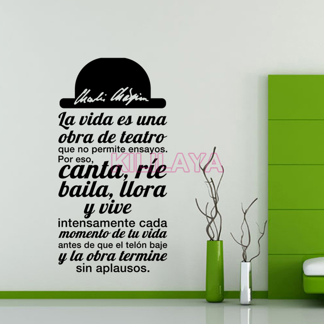 Spanish Quote La Vida Es Una Obra De Teatro Vinyl Wall Sticker Decals Mural  Wall Art Part 88