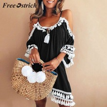Free Ostrich 2019 Women Off Shoulder Dress Tassel Short Cocktail Party Beach Dresses Sundress Fashion Ethnic Style Tassel Dress(China)