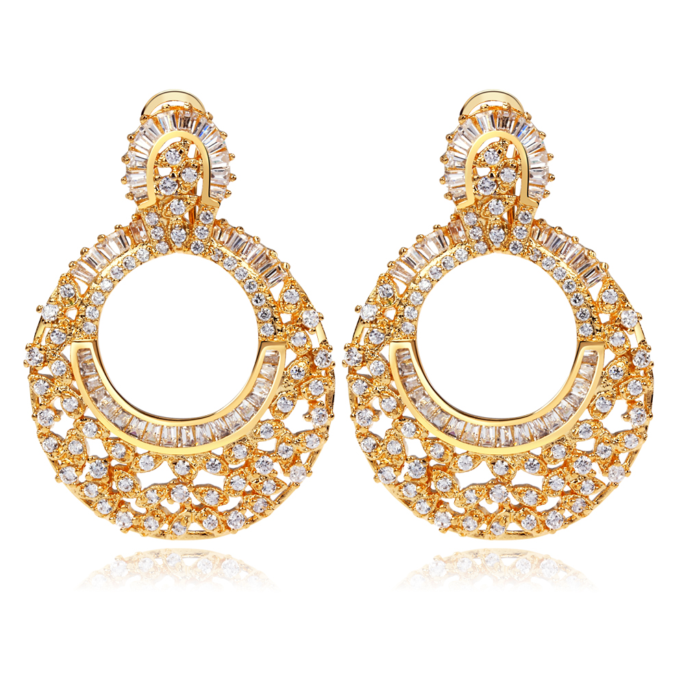 Bridal dangle earrings Round design Luxury jewelry Gold and White color Cubic Zirconia crystal Women large