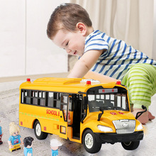 High quality big size children school bus toy model inertia car with sound light for kids