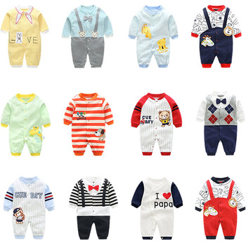 Baby Long Romper Toddler I Love Mama Letter Print Spring& Autumn Jumpsuit Bow Bib Striped Onesie Girl Boy Fashion Daily