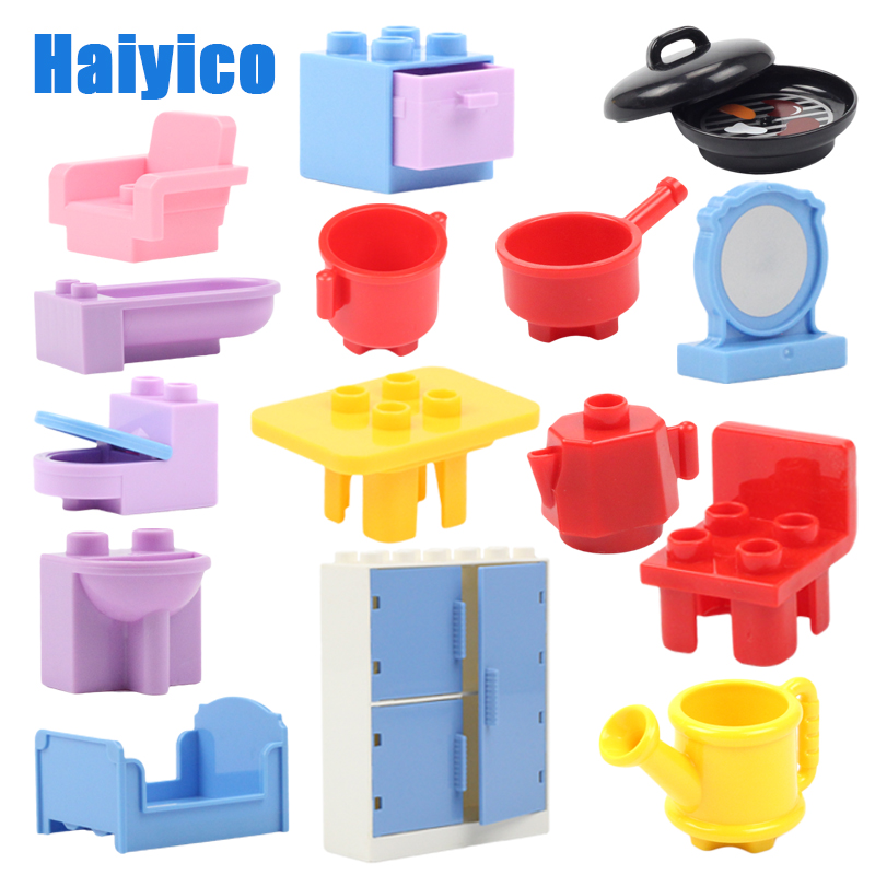 Big Building Blocks Furniture Model Accessories Compatible Duplos House Sofa Table Wardrobe Chair Kitchenware Children Diy Toys