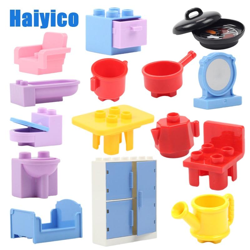 Large Building Blocks Bricks House Accessories Compatible Duplos Children DIY Toy Big Sofa Table Wardrobe Chair Kitchenware Gift