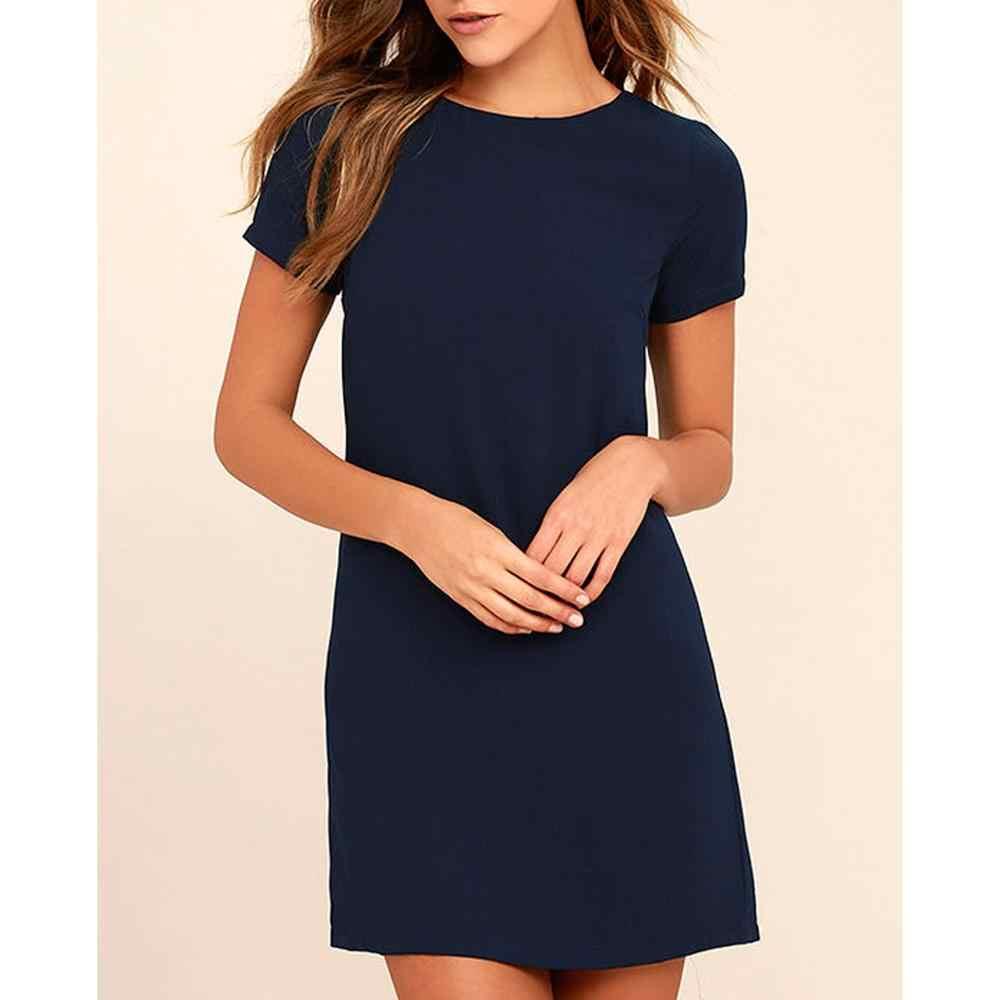 2019 женское однотонное платье с круглым вырезом, летние модные свободные Мини платья, повседневные Элегантные женские платья с коротким рукавом