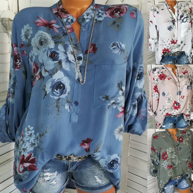 LASPERAL 2018 Women Summer Autumn Long Sleeve V Neck Women Blouse Floral Print Irregular Shirts 5XL Plus Size Women Tops Blouse 4
