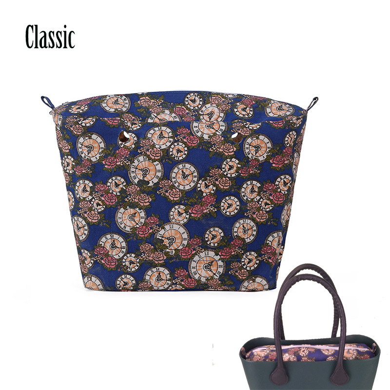 Clearance sale colourful insert inner lining pocket for Classic Obag big O bag women's bags AMbag inner new colorful cartoon floral insert lining for o chic ochic canvas waterproof inner pocket for obag women handbag