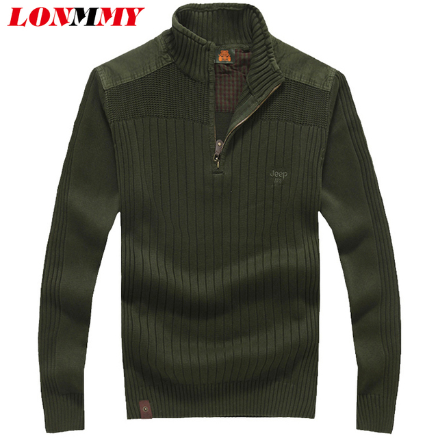 LONMMY Christmas sweater pullovers men Thick Casual coat Stand collar Sweater men Knitted pullover men clothing 2016 Winter