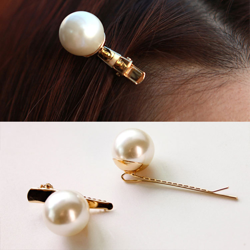 New Big Sleek Simulated Pearl Fashion Golden Silver Hair Pins and Clips Barrettes Trendy Hair Jewelry Women Accessories