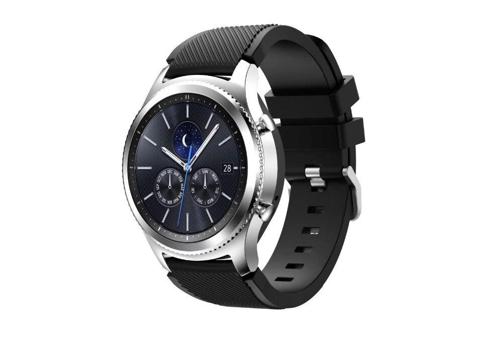 Correa de reloj de pulsera de silicona deportiva para Samsung Gear S3 R760 R770 Banda de silicona con cierre Reemplazo de diseño moderno 22 mm