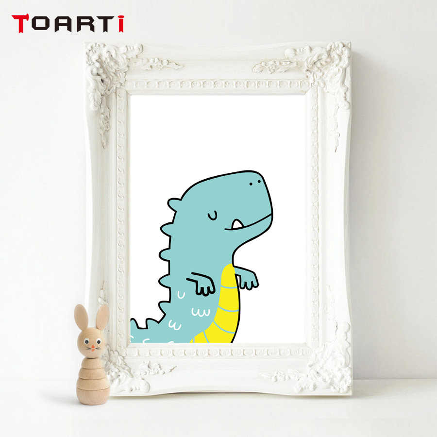 Dinosaur Cartoon Set Canvas Art Print Painting Poster Wall Pictures Kids Room Home Decorative Wall Decor Picture No Frame