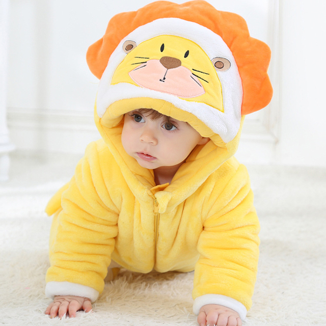 57847c6ea5ed Thickened Flannel Baby Jumpsuit Romper Winter Cartoon Yellow Lion ...
