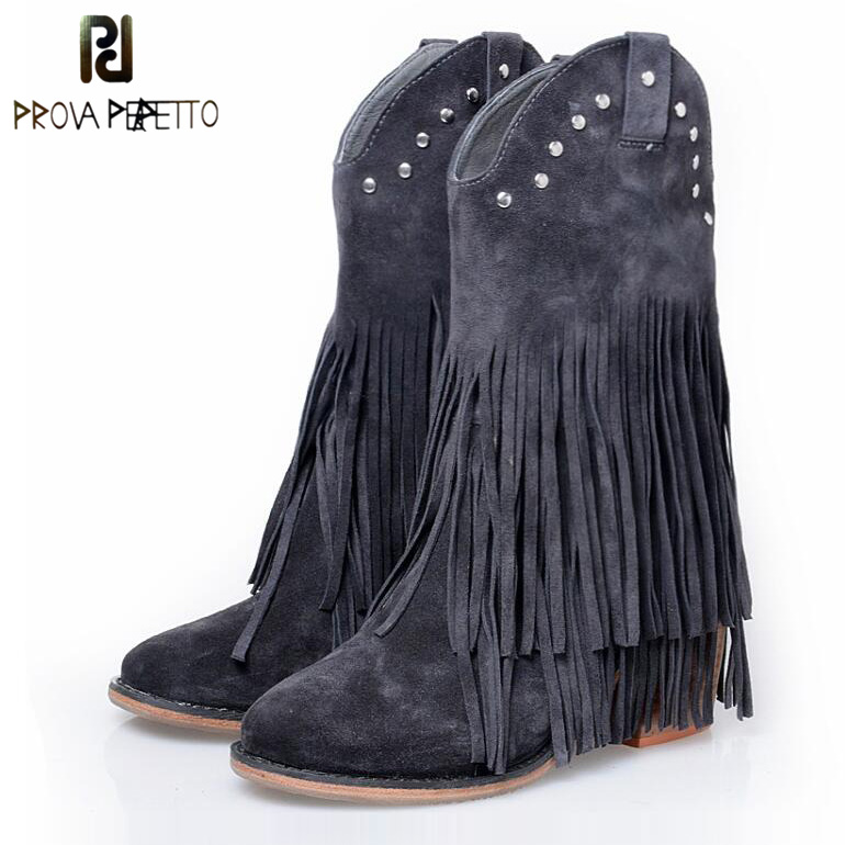 Prova Perfetto Full Fringed Women Mid-calf Boots Suede Tassels Chunky High Heel Boot Slip On Rivets Studded Martin Boots Mujer double buckle cross straps mid calf boots