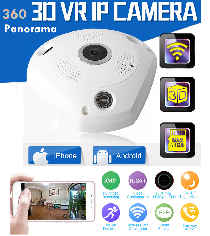 INTENERGIC 360 Degree Panorama CCTV IP Camera Wifi 1.3MP HD Wireless VR IP Camera Remote Control Surveillance Camera P2P Indoor