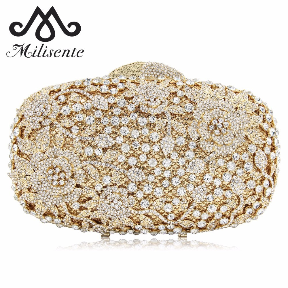 Milisente Women Purse Flower Evening Bags Wedding Clutch Luxury Crystal Clutches Diamond Party Bag luxury real new arrival day clutches diamonds flower women bag banquet crystal handbag wedding party handbags night clubs purse