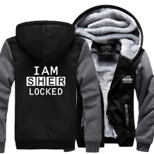 I Am Sher locked letter print hooded men Sherlock Holmes Inspired fleece tracksuit 2017 harajuku sweatshirt winter zipper jacket