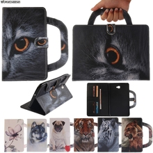 Card Slots Tablet Case For Samsung Galaxy Tab A6 10.1 2016 T585 T580 T580N Dog Cat Handbag Flip PU Wallet Leather Magnet Cover